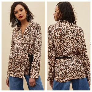 Topshop Animal Print Wrap Pyjama Shirt US 2